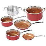 4. BulbHead Red Copper 10 PC Copper-Infused Ceramic Non-Stick Cookware Set