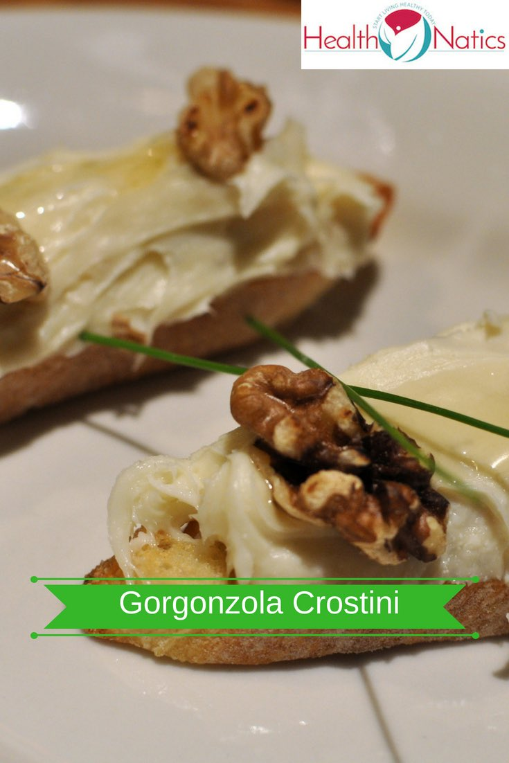 Gorgonzola Crostini With Walnut, and Honey Recipe