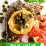 "Pan-Seared Tuna Steaks Recipe with ""Melted"" Lemon-Caper Sauce"