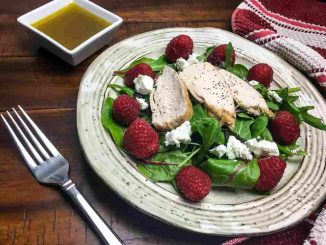 Raspberry Chicken Mixed Green Salad